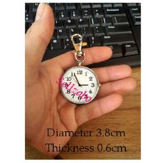 Watch Clock : Hook : Quartz : Small Portable : Big : Clear : Face : Time : Timing : Numbers : Silver Colour : Accessories : Gift : Present