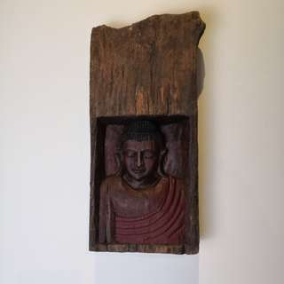 Monk in tree trunk antique wall display