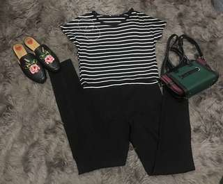 ZARA stripes top + H&M highwaist black pants