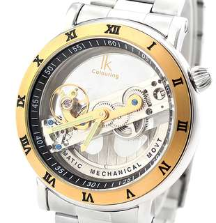 男裝 前衛 超帥氣派 半透明銀色錶面 陀飛輪 精緻機械錶 Men Avant-garde style Transparent surface Tourbillon Mechanical exquisite watch