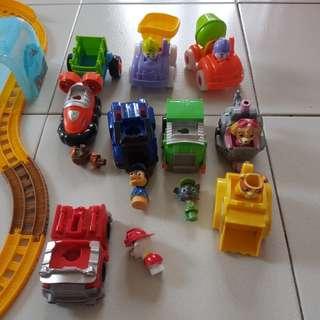 Paw patrol+ Thomas track+ 3 car toys