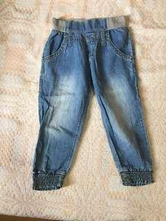 Zap denim pull up pants