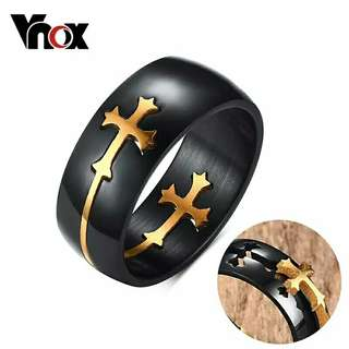 Unisex Buy1getOne Vnox Separable Cross Ring for Men Woman Black Color Stainless Steel Cool Male Casual Remove Design Jewelry Wedding Band