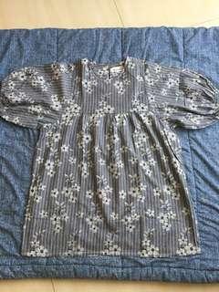 Grey flower mini dress