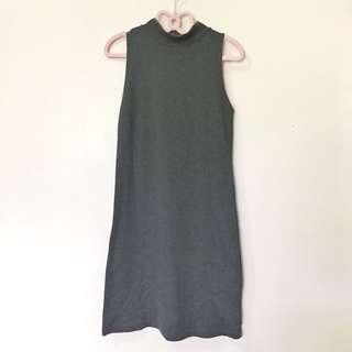 moss green turtle neck sleeveless dress