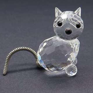 Swarovski Cat Figurine w/ Silver Tail