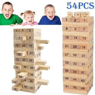 (Preorder) 54pcs Wooden Jenga blocks