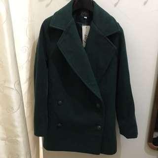 全新30%羊毛超顯白綠色外套