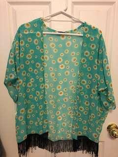 Daisy print open blouse - Size M