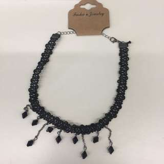 $15 fashion choker black beads with 2 hair band set rock and roll