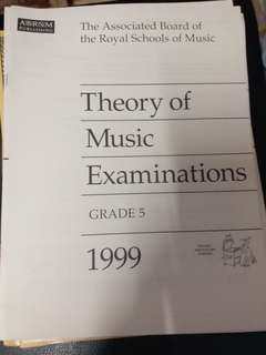 Grade 5 ABRSM Theory of Music Exams 樂理 past paper