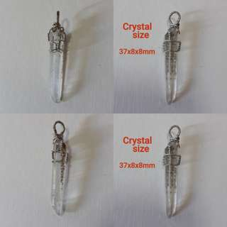 Very nice, Natural clear crystal with phantom pendant(天然白水晶/绿幽灵吊坠). Wrap in Silver plated copper wire.
