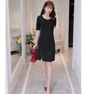 Korean OL Black Dress