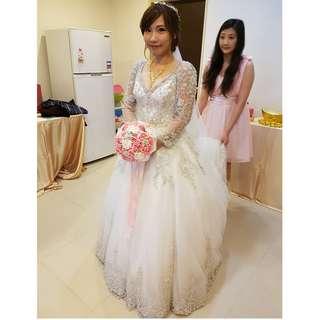 Ginger Chen Wedding 靖妝 手工訂製禮服-超美水鑽白紗