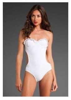 BNWT JUICY COUTURE $160 Ruffle White Ruffle Monokini Swimsuit