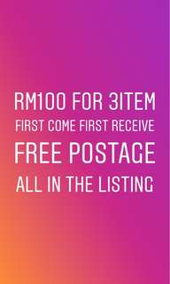 RM100 FOR 3ITEM