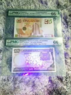 PMG 66 $25 Orchid & $25 Commemorative notes.