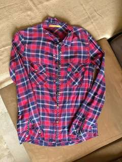 Bershka Plaid Button Down Shirt