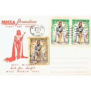 FDC First time Miss Jamaica crowned Miss World in 1963 Condition of stamps and cover as in picture