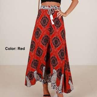 Candice Bohemian Drawstrings High Waist Maxi Skirt