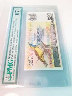 $20 Bird series Pmg 67 graded note.