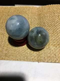 天然A玉玉球手挽件(一對)