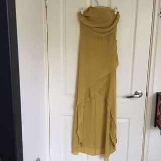 Hi-low Mustard strapless formal dress size 8