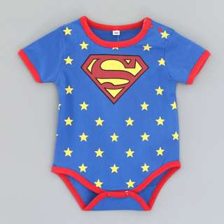 SIZE 95 AVAILABLE( 18-24 MTHS) new arrival superman for baby rompers superhero also available in spiderman or batman short sleeve rompers