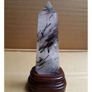天然白水晶柱黑碧璽共生礦主水晶重454g附木底座總高約20公分實品拍攝
