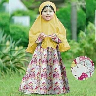 SYARI KITTY KID  108.000 bahan maxi katun jepang motif asli +jilbab katun  PJ-115, LD-76 sleting blkg, pinggang karet, fit 4-6thn