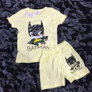 for 2-5 years old 2 colours available, batman toddler set clothes shirt and pants shorts boys grey yellow blue