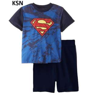 1-6 yr old size available superman set for children, affordable price, cotton material blue dark toddler baby boys children clothes