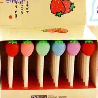 (Preorder Bulk Purchase) Strawberry / Colorful Macaroon Pens x 36 pcs