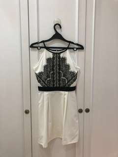 White and Black Laced Cloth Inc. Party Dress