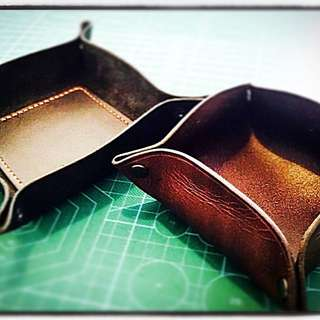 Handcrafted Leather Travel Valets. Choose Square Or Round.