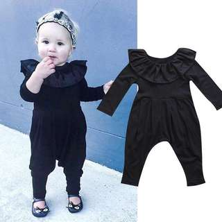 Baby Girl Ruffle Collar Rompers (Long Sleeves)