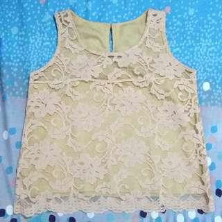 Nude Cream Lace Brokat Sleeveless Tank Blouse