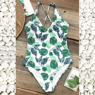 Green Leafy One Piece Swimsuit/Swimwear (Small only)