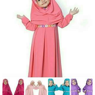 ALINA KIDS 88.000 bahan jersey premium + kerudung kombi renda  PJ-83, LD-70 FIT 3-5thn