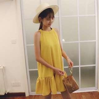 Halter Ruffle Hem Dress (Yellow)