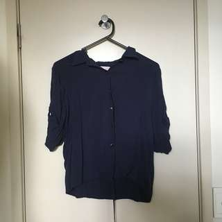 Dark Navy Blue Button Down Top