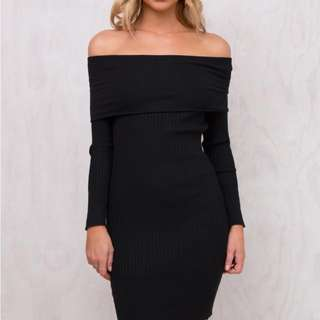 Black Off The Shoulder Knit Dress