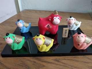 日本製 猴子 陶瓷 擺件