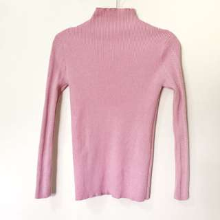 pink turtle neck knitted long sleeve / pullover / sweater