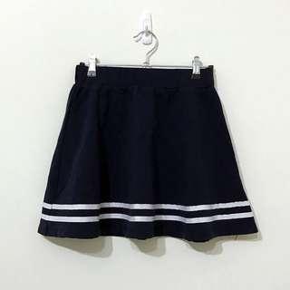 🚚 FIFTY PERCENT韓日系海軍風水手服深藍色厚棉質條紋腰鬆緊圓裙
