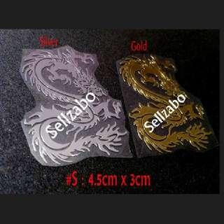 #S 龙 Anti Radiation Metallic Silver Golden Stickers Sellzabo Naga Colour Dragon Stationery