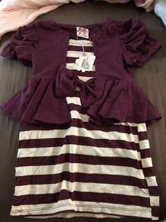 Bnwt elephant and castle stripe dress with attached cardi (110)