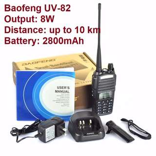 Real 8W, triple power, long range, Export set! up to 10 km BAOFENG UV-82 Walkie Talkie 8W Dual Band 128 Channels Handy Radio Receiver VHF UHF Transceiver Marine channels  VHF 136-174Mhz UHF 400-520Mhz