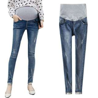 SLIM FIT KOREAN STYLE RIPPED MATERNITY DENIM PANTS - BLUE