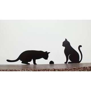 🚚 1:1大小 貓咪壁貼 - 監視老鼠洞(左)
